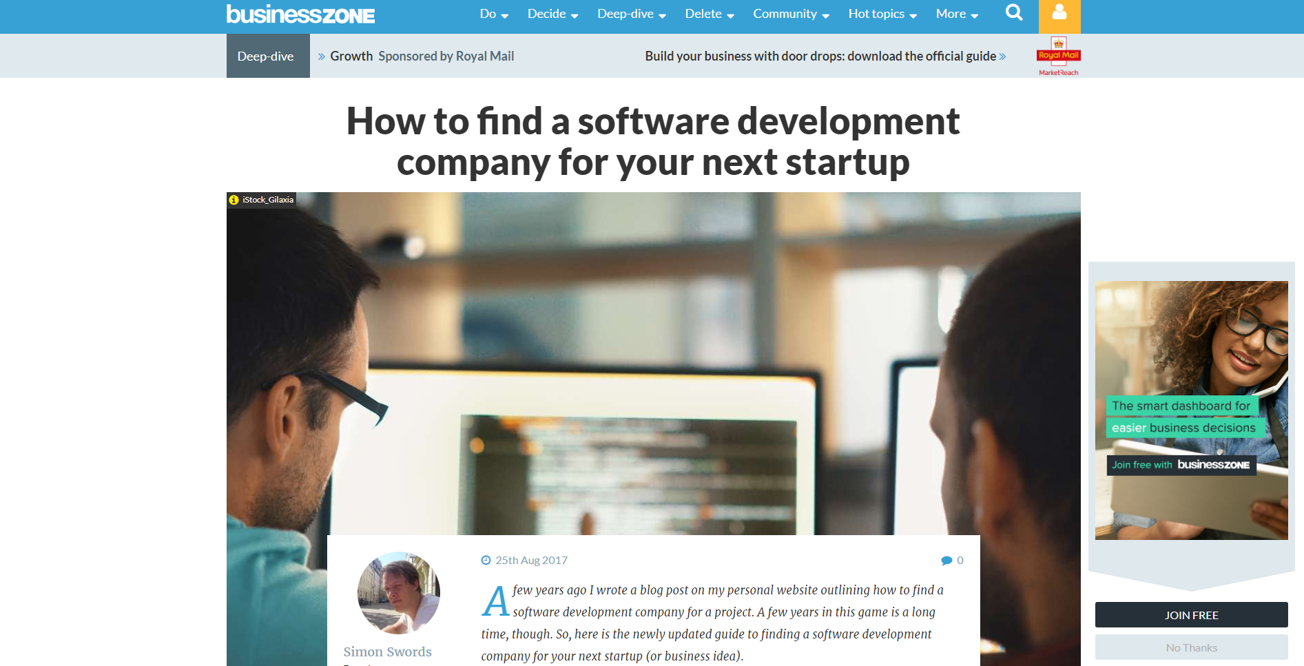 BusinessZone Article - How to find a software development company for your next startup